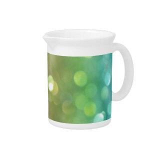 Green Pastel Rainbow Bokeh Glitter Beverage Pitchers