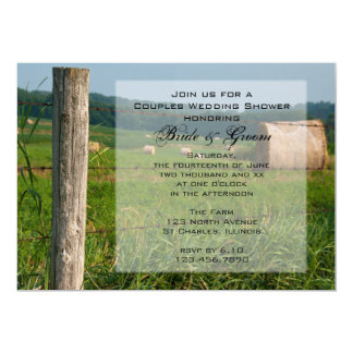 Green Pastures Country Couples Wedding Shower Announcements