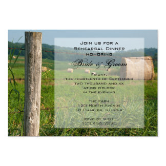 """Green Pastures Country Rehearsal Dinner Invitation 5"""" X 7"""" Invitation Card"""