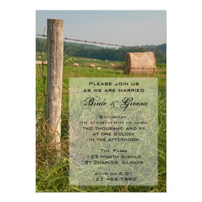 Green Pastures Country Wedding Invitation