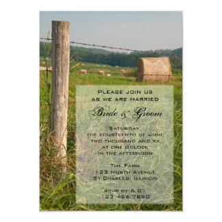 "Green Pastures Country Wedding Invitation 5"" X 7"" Invitation Card"