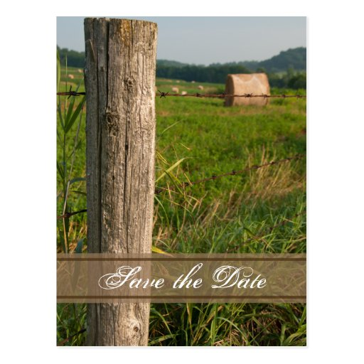 Green Pastures Country Wedding Save the Date Postcard