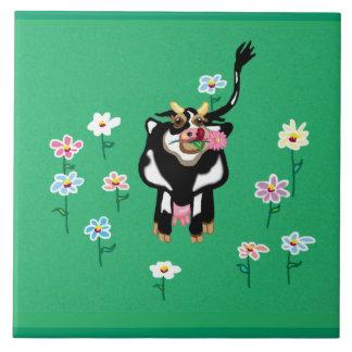 Green pastures - cow and daisies tile
