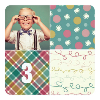 Green Patchwork Pattern Squares Boy Photo Birthday Card