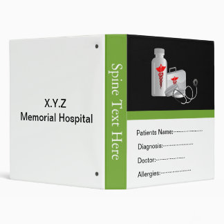 green patient's medical record book vinyl binder
