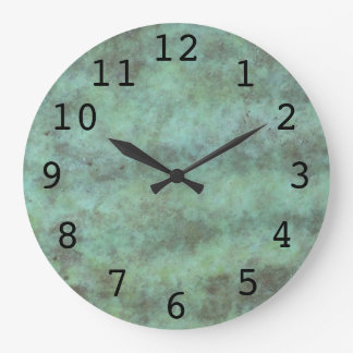 Green Patina Black Numbers Large Clock