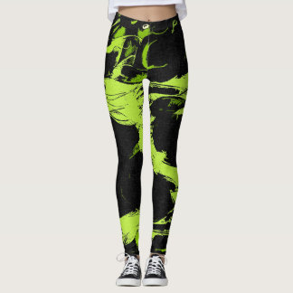 Green pattern abstract watercolor paint splashes leggings