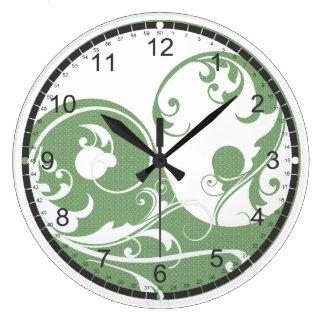 Green Pattern and White Yin & Yang Large Clock