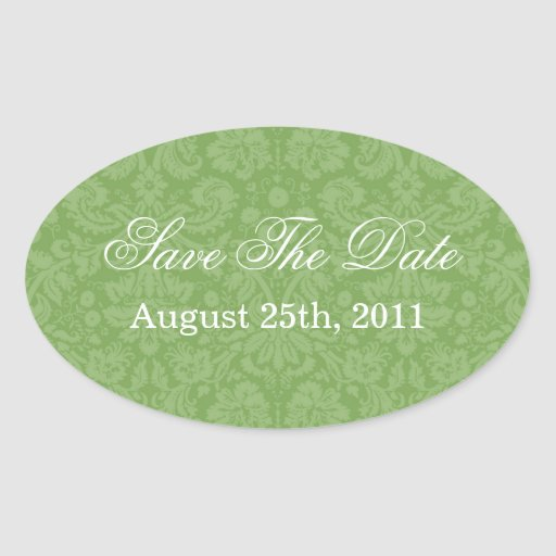 Green Pattern  Background Save The Date Stickers