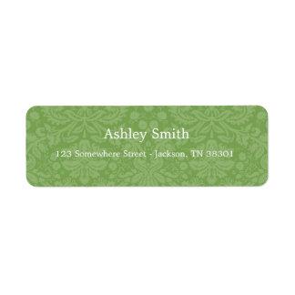 Green Pattern Background Wedding Labels