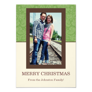 Green Pattern & Cream Photo Christmas Cards
