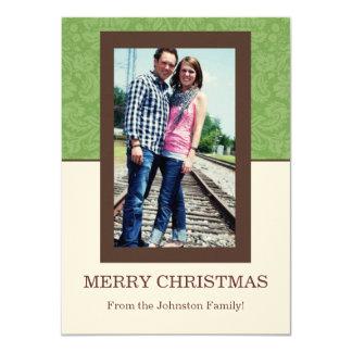 Green Pattern & Cream Photo Christmas Cards
