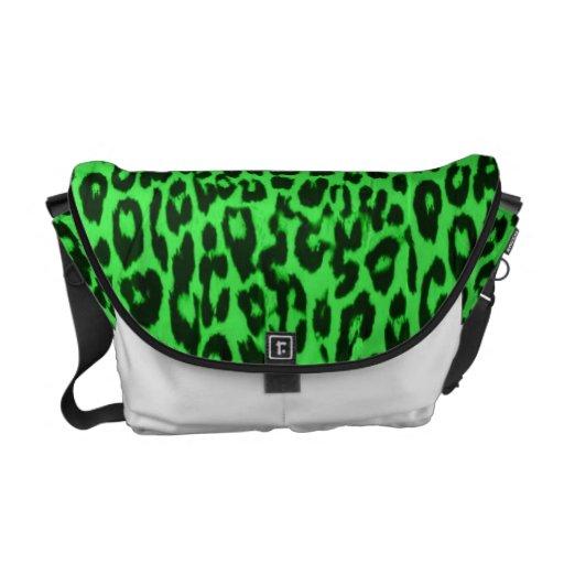 Green pattern leopard fur abstract texture messenger bag