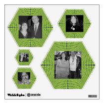 green pattern photo frame wall sticker