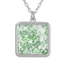 green pattern silver plated necklace