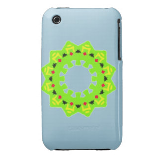 Green pattern with red black yellow shapes inside iPhone 3 cover