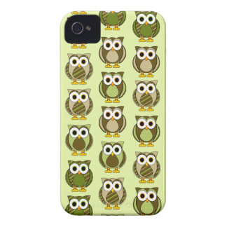 Green Patterned Owls Dots and Stripes Case-Mate iPhone 4 Case