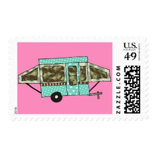 Green patterned pop up postage