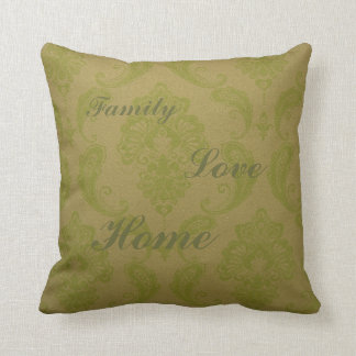 Green patterned Throw Pillow with text