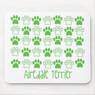 Green Paw by Paw Airedale Terrier Mouse Pad