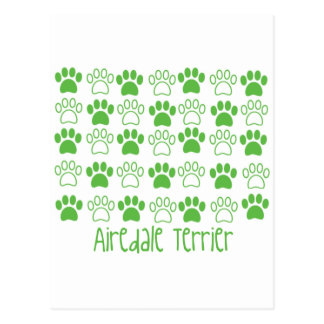 Green Paw by Paw Airedale Terrier Postcard