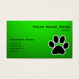 Green Paw Print Business Card