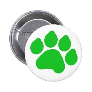 Green Paw Print Button