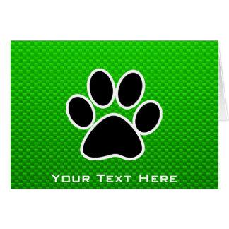 Green Paw Print Card
