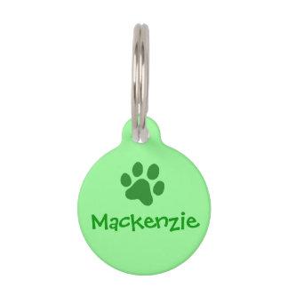 Green Paw Print Pet Name Tag