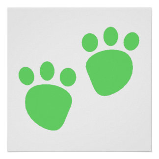 Green Pawprints Poster