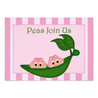 Green Pea Twin Girls Baby Shower Invitation