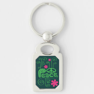 Green Peace and Flowers Keychain