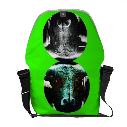 Green peace Buffalo head Courier Bags