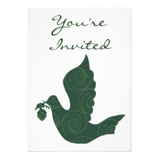 Green Peace Dove Swirls Customizable Template Custom Invites
