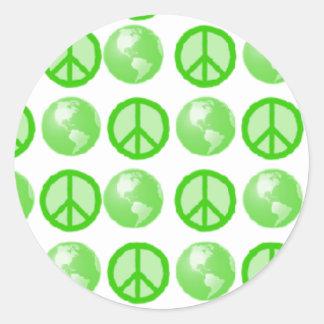 Green Peace Earth Bubbles Classic Round Sticker