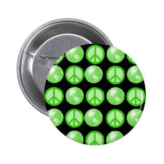 Green Peace Earth Bubbles Pinback Button