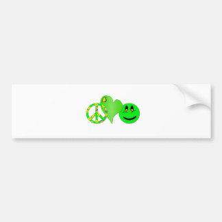 Green Peace Love Happiness Bumper Sticker