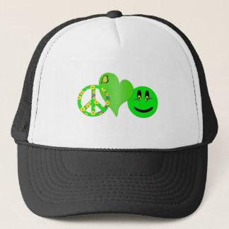 Green Peace Love Happiness Trucker Hat