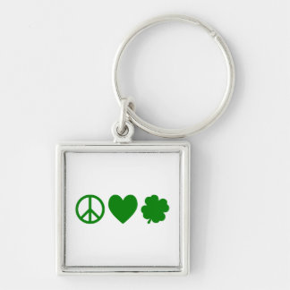 Green Peace Love Shamrocks Keychain