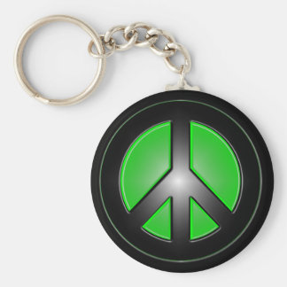green peace sign basic round button keychain
