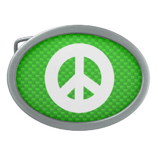 Green Peace Sign Belt Buckles