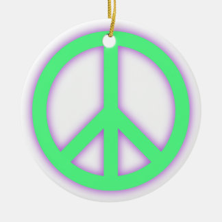 Green Peace Sign Ceramic Ornament