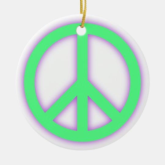 Green Peace Sign Ceramic Ornament