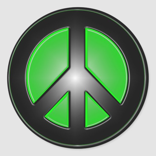 Green peace sign classic round sticker
