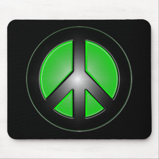 green peace sign mouse pad