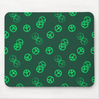 Green Peace Sign Pattern Mouse Pad