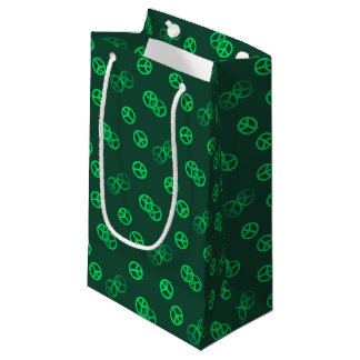 Green Peace Sign Pattern Small Gift Bag
