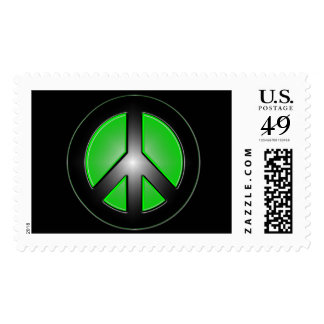 green peace sign postage stamp