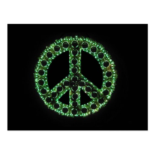 green peace sign postcard