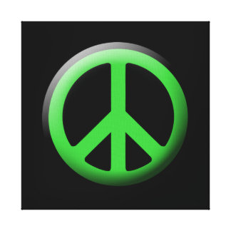 Green Peace Sign Wall Canvas